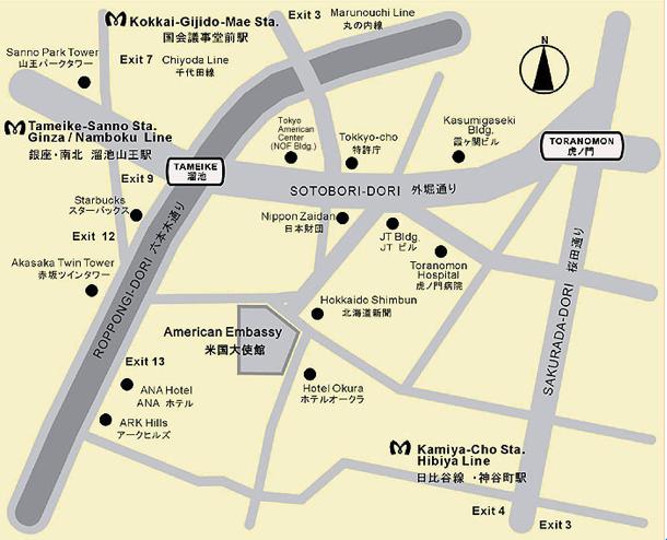アメリカ大使館マップ